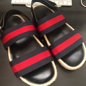 Gucci Men's Sandals Leather Blue Red Size 9